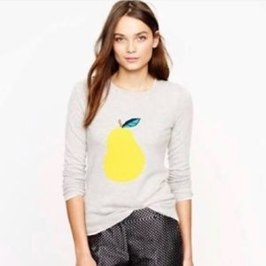 EUC J. Crew Warmspun Intarsia Pear Wool Rabbit Hair Blend Grey Sweater Size XS